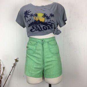 Vintage Shorts - Vintage Mint Green Shorts Put-Ons by Ruth Eib